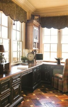 Great home office.lots of work space, storage, lots of light (Habersham Home Office Custom Cabinetry) The Office, Office Ideas, Window Coverings, Window Cornices, Valances, Custom Window Treatments, Window Styles, Custom Cabinetry, Window Design
