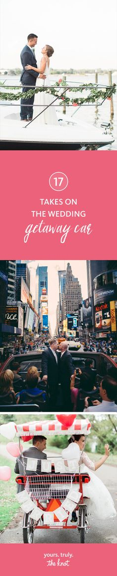 Make your wedding exit just as memorable as your entrance with these fun ways to ride off into the sunset as a married couple. Wedding Getaway Car, Summer Wedding, Wedding Transportation, Wedding Exits, Entrance, How To Memorize Things, Reception, Wedding Inspiration, Weddings
