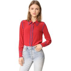 Diane von Furstenberg Button Collared Blouse featuring polyvore women's fashion clothing tops blouses button collar shirt red blouse long sleeve blouse red long sleeve blouse long sleeve button shirt