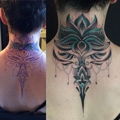 A unique collection of best ideas for Mandala lotus tattoos, yoga lotus tattoos, lotus tattoos in geometric style and various other artistic lotus tattoo ideas for women. Diy Tattoo, Tattoo P, Tattoo Hals, Body Art Tattoos, Lotus Tattoo, Back Of Neck Tattoos For Women, Cover Up Tattoos For Women, Neck Tattoos Women, Tattoos For Guys