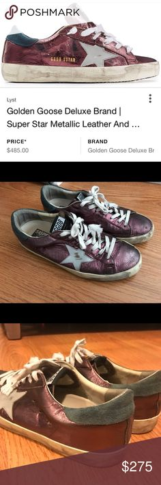 Men's Golden goose sneakers size 8.5 A pair of golden goose sneakers size 8.5 in good condition. For this who don't know this brand designs shoes to look this way I didn't actually beat them up. Golden Goose Shoes Sneakers