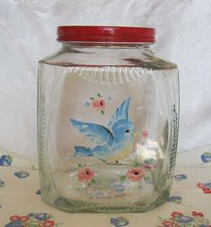 Vintage Glass Cookie or Cracker Canister/Jar*Red Lid*Hand Painted Blue Bird*Lg | eBay