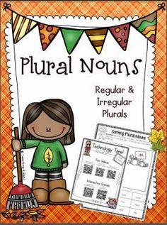 Plural Nouns For Fall (Regular & Irregular) 2nd Grade Grammar, 4th Grade Ela, Second Grade, Irregular Plural Nouns, Nouns And Pronouns, Teacher Tools, Teacher Stuff, Common Core Curriculum, First Grade Teachers