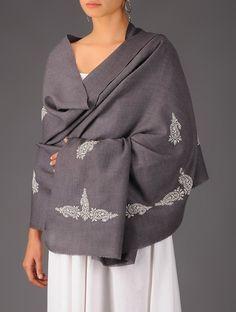 Buy Grey White Paisley Wool Chikankari Shawl Accessories Shawls Chikan Charisma Elegant Embroidered Woolen Online at Jaypore.com