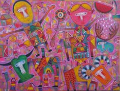 The Party Oil on Canvas 36 x 48 inch. 91 x 122 cm. Year of production 2015 AUTHENTIC PIECE ONLY Sent directly from the artists personal studio.