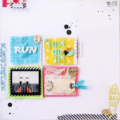 Run layout by Jennifer Kinkade  Inspiration - this caught my eye with the fabric pieces used and the little collage pieces that make up the layout.
