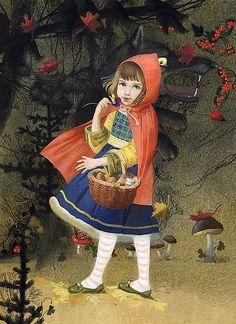 Little Red Riding Hood/Dark Fairy Tales, illustration by Nadezhda Illarionova Little Red Ridding Hood, Red Riding Hood, French Fairy Tales, Fairytale Art, Red Hood, Children's Book Illustration, Book Illustrations, Big Eyes, Illustrators