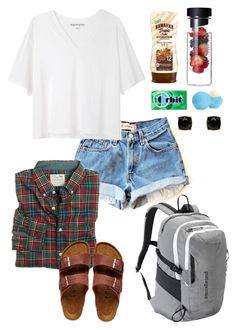 """Camp counselor!!!"" by piper-cantey ❤ liked on Polyvore featuring moda, Acne Studios, Eos, Hawaiian Tropic, Mimco, J.Crew, Birkenstock, Patagonia, women's clothing e women"