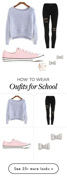 """""""School look"""" by samanthaloverivera on Polyvore featuring Converse, Marc by Marc Jacobs and Anne Klein"""