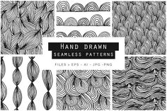 Hand Drawn Doodle Patterns Graphics These super fun Hand Drawn Doodle Seamless Vector Patterns are ideal when you like a light, fun and by Youandigraphics