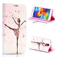 Ballet meisje met diamantjes bookcase hoesje voor Samsung Galaxy S5