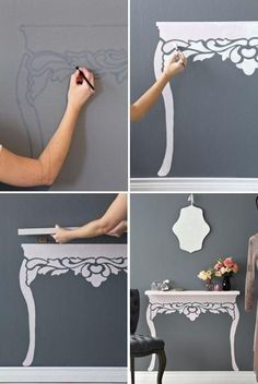 Love this as a hallway feature, dressing table or even work desk if you alter the design! #hallwayideasnarrow #HomeAppliancesHowToPaint