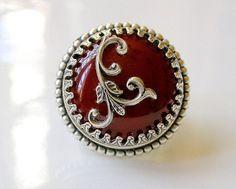 Round Large Ring  Carnelian Agate Gemstone on Ox by LeBoudoirNoir, $70.00