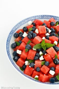 Watermelon and feta balanced each other with sweet and salt while the blueberries add complexity. A garnish of mint is the pop of cooling flavor we love on a hot day.