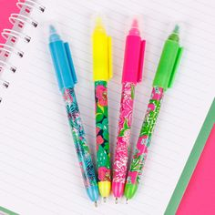 Floral Pens-includes pen, highlighter, and flash light. Only $4, comes in blue, yellow, pink, and green!   *Assorted Color Pens*