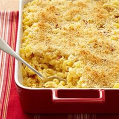 Shredded Cheddar, provolone, and Asiago make this mac and cheese with bacon a triple cheese-y comfort food.