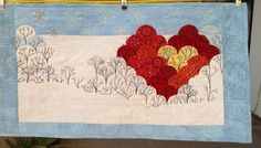 "Small Quilted wall hanging 25"" X13"" English Paper pieced clamshells, appliqued, machine"