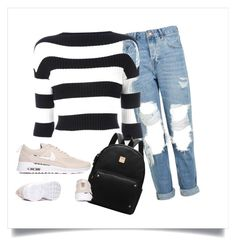 """stripes and ripped jeans"" by dream-create on Polyvore featuring Topshop and Boutique Moschino"