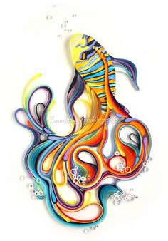 distort Using a centuries-old technique known as quilling, Russian artist Yulia Brodskaya manipulates strips of colorful paper by rolling, looping and curling them into decorative shapes. Paper art by Yulia Brodskaya: Tropical fish Arte Quilling, Origami And Quilling, Quilled Paper Art, Paper Quilling Designs, Quilling Paper Craft, Quilling Patterns, 3d Paper, Origami Paper, Paper Crafts