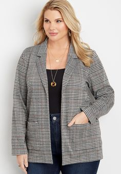 Maurices Plus Size Womens Menswear Plaid Open Front Blazer - Size 1 Plus Size Tops, Plus Size Women, Size Zero, Size 2, Maurices Plus Size, Plaid Pattern, Colored Blazer, Plus Size Outfits, Fitness Models