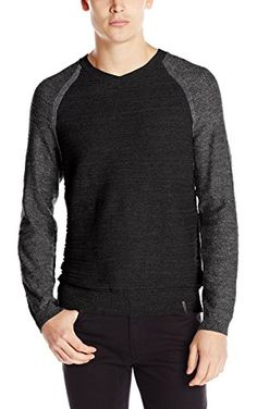 Calvin Klein Jeans Men's Uneven Budding Baseball V-Neck Sweater, Night Sky Heather, X-Large ❤ Calvin Klein Jeans Men's Collection