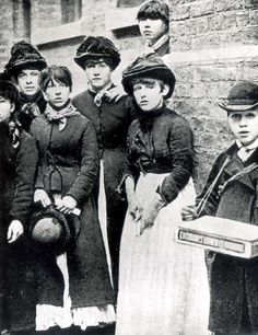 """Occupational photograph of Victorian match girls, ca. 1888. These girls worked in terrible conditions, for 14 hours a day, and received very little pay for their work. The phosphorous used in making matches caused hair and teeth loss, yellowing of the skin, and """"phossy jaw"""", a type of facial bone cancer."""