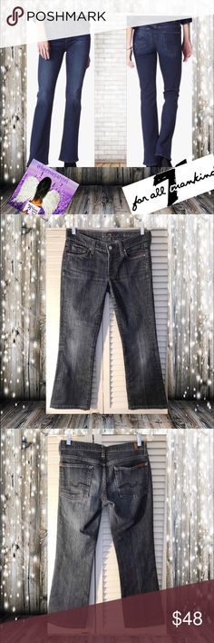 """7 For Mankind Bootcut Size 27 A wonderful and elevated bootcut denim has amazing stretch. First photograph is a stock for styling. The other photographs are actual Jean. Color is a stone Blue Stone Washed Denim.  These jeans are Pre-loved.  They have no rips or stains. Measurements appropriately 15"""", 8"""" Front Rise, 27"""" inseam, 8 1/2"""" Leg opening 🚫 trades. Please ask all questions prior to buying 7 For All Mankind Jeans Boot Cut"""