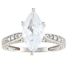 Alyssa Jewels 14k White Gold 2 1/2ct TGW Clear Cubic Zirconia Engagement-style Ring (Size 11), Women's
