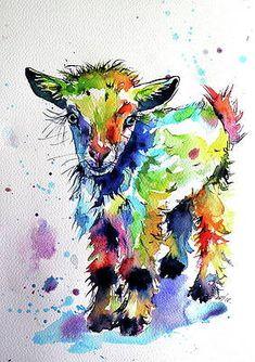 Cute baby goat by Kovacs Anna Brigitta Diamond Drawing, 5d Diamond Painting, Diamond Art, Cross Stitch Kits, Cross Stitch Embroidery, Diy Embroidery, Cartoon Lamb, Goat Paintings, Diamond Picture