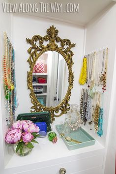 Master closet DIY closet on a REAL budget! Come see the rest of the pics and get ideas to steal for your own space! Glam Closet, Closet Vanity, Closet Bedroom, Master Closet, Closet Nook, Closet Mirror, Diy Vanity, Ikea Bedroom, Master Bedroom