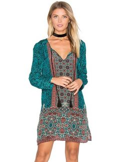 Silk Jute Floral Long Sleeve Above Knee Casual Dresses (1042923) @ floryday.com