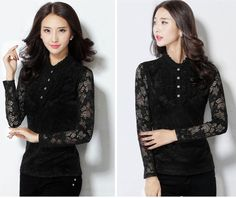 Women Lace Slim Waist Blouse Tops Delicate Lady Long Sleeve Tee Shirts M-3XL | eBay