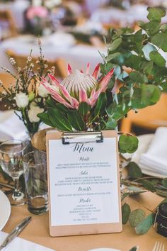 rustic wedding table setting with king proteas
