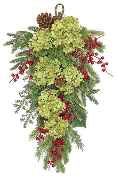 Christmas Decorations Decorating : Door Swag or use anywhere! with dried hydrangeas Artificial Christmas Wreaths, Christmas Swags, Noel Christmas, Outdoor Christmas, Holiday Wreaths, Christmas Projects, Winter Christmas, Christmas Flowers, Burlap Christmas