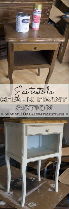 I tested the Chalk Paint Action! Deco Furniture, Furniture Making, Furniture Makeover, Painted Furniture, Creation Deco, Diy Cabinets, Repurposed Furniture, Room Decor Bedroom, Chalk Paint