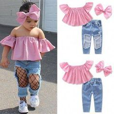 Toddler Kids Baby Girls T-Shirt Tops+Hole Jeans Pants Clothes Outfits Set & Garden Baby Girl Jeans, Baby Boy Dress, Baby Girl Tops, Girls Pants, Baby Girls, Kids Outfits Girls, Toddler Outfits, Girl Outfits, Fashion Outfits