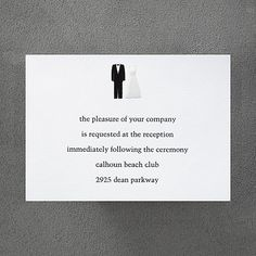 Tux and Gown - Reception Card weddingneeds.carlsoncraft.com