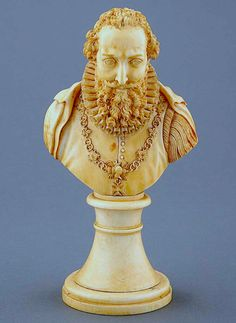 Ivory Bust of King of France Henri IV 1553-1610 probably carved in the late 1500's.