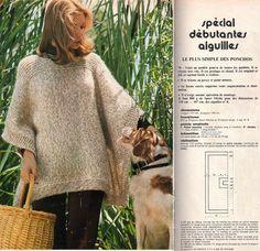 plus simple des ponchos.Le plus simple des ponchos. Crochet Doilies, Knit Crochet, Patron Crochet, Filet Crochet, Knitting Patterns, Crochet Patterns, Knitted Cape, Knitting Projects, Lana