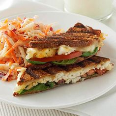 Cheesy Tilapia Panini with Apple-Carrot Slaw - This could be good with other, wild, not farm raised fish, as well.