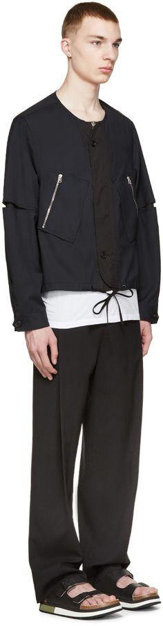 3.1 Phillip Lim Navy Wool Flight Jacket