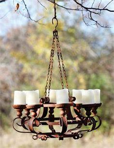 Rustic outdoor chandelier.  Garden Accessories and Decor