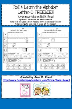 Roll and learn the alphabet! A fun new take on the roll and read. Letter C FREEBIE!!