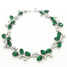 Tree Leaf Sterling Silver Chain Bracelet Women Emerald GreenTopaz White Zircon Jewelry