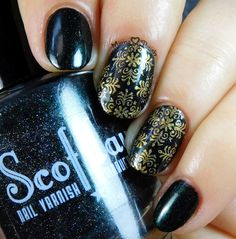 Scofflaw Nail Varnish - Love Letter to Loki swatch and stamping with MoYou London Fashionista 08 and M Polish Bells. New Nail Art, Easy Nail Art, Metallic Nails, Love Letters, Class Ring, Swatch, Manicure, Rings For Men, Nail Polish