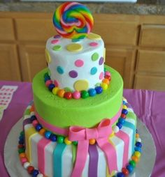 Kid's cake -- Fun Colored Gumballs Gumbals, Candy, Chocolate available at www.candymachines.com use code PIN for a 10% discount