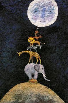 """Ilustración interior de """"¿A qué sabe la luna?"""", de Michael Grejniec (Kalandraka)."""