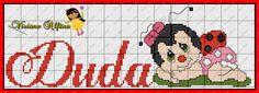 Viviane Alfêna: Joaninha fofa Cross Stitch Boards, Minnie, Cross Stitch Patterns, Alphabet, Mario, Nursery, Disney, Baby, Painted Monogram