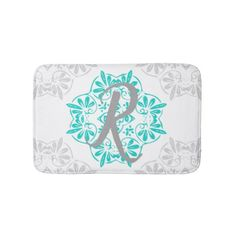 Gray Turquoise Modern Kaleidoscope Damask Pattern Bathroom Mat - home gifts ideas decor special unique custom individual customized individualized