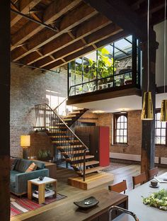 One of the nicest lofts i have ever seen. Loft by Andrew Franz Patio Interior, Interior And Exterior, Interior Ideas, Bathroom Interior, Brick Interior, Interior Stairs, Loft Design, Design Design, Studio Design